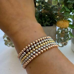 Sterling Silver ball bead elastic bracelet 3mm